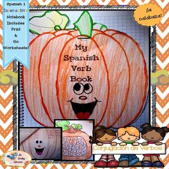 Fall Spanish Conjugation - Interactive Notebooks -  libro de calabaza