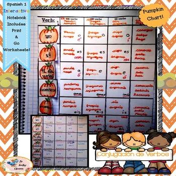 Fall Spanish Conjugation - Interactive Notebooks - tabla de verbos