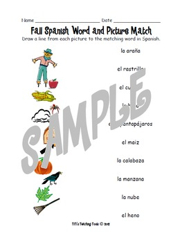 Fall Spanish Word and Picture Match