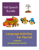 """Fall Speech Bundle :Adapted Books, """"WH"""" questions, dot art and take home books."""