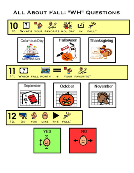 "Fall Speech Bundle :Adapted Books, ""WH"" questions, dot art and take home books."