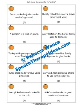 Fall Speech Therapy Freebie