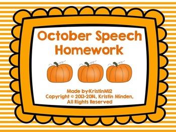 Fall Speech Homework Bundle
