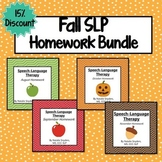 Fall Speech-Language Therapy Homework Bundle (August - November)