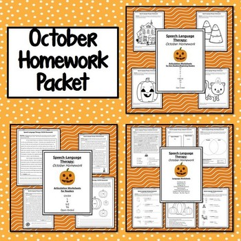Fall Speech-Language Therapy Homework Bundle (August - November)