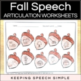 Fall Speech No Prep Articulation Worksheets