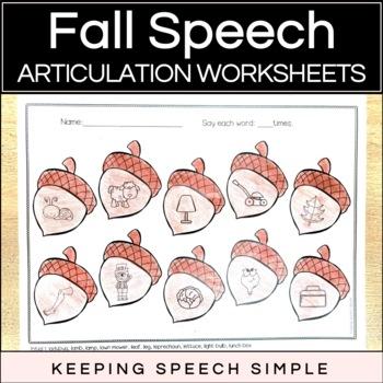 Fall Speech No Prep Articulation Worksheets