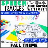 Fall Speech Therapy Activity: Preschool Fine Motor Tracers