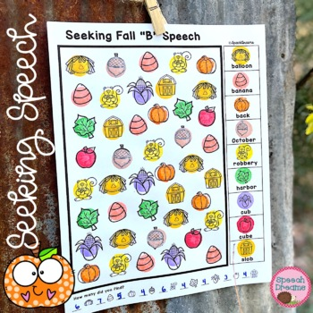 Fall Speech Therapy Seeking Activity {articulation}