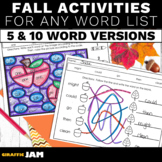 Fall Spelling Activities for ANY List of Words for Elementary Students