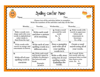 Fall Spelling Homework and Center Activity Menu