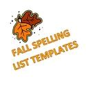 Fall Spelling List Templates