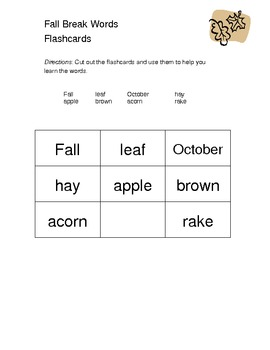Fall Spelling Words