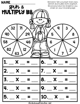 Multi Digit Multiplication - Fall Spin and Multiply