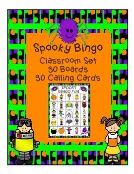 Fall Spooky Bingo Harvest Halloween Classroom Party Game & Calling Cards