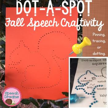 Fall Dot a Spot Speech Therapy Craft pinning tracing dotti