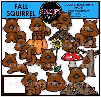 Fall Squirrel Clip Art Bundle {Educlips Clipart}