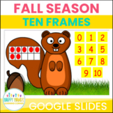Fall Math Squirrel Ten Frame Counting for Numbers 0-10 for Google Slides