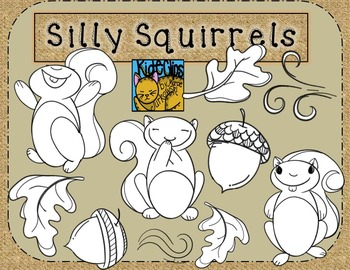 Squirrel and Acorn Clip Art for Fall by Kid-E-Clips Commercial Personal