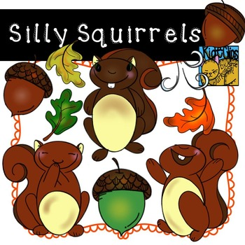 Squirrel and Acorn Clip Art for Fall by Kid-E-Clips Commer