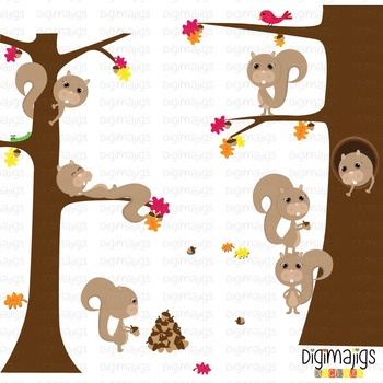 Fall Squirrels Clipart, Autumn Graphics, Acorn Clipart, Fall Leaves