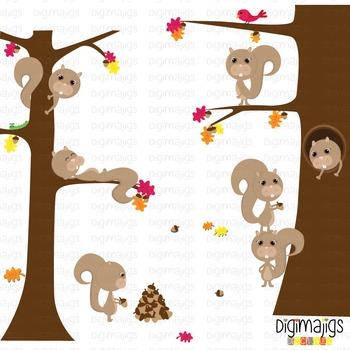 Fall Squirrels Clipart, Autumn Graphics, Acorn Clipart, Fall Leaves