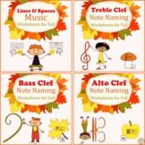 Music Staff Worksheet Bundle | Fall Themed