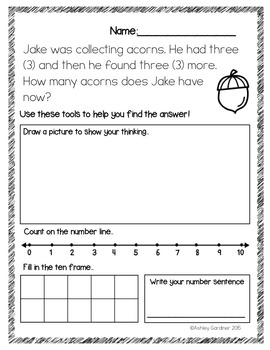Fall Story Problems {6 Story Problems with Addition and Subtraction}