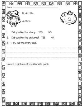Fall Story Time Printables and Literacy Activities