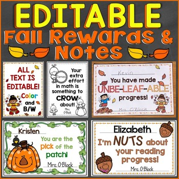 Fall & Halloween Student Reward Certificates & Notes (EDITABLE)