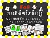 Fall Subitizing - Cut and Folds, Ten Frames, Dot Cards, Scoot, Five Frames