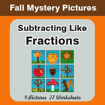 Fall: Subtracting Like Fractions - Color-By-Number Math Mystery Pictures