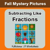 Fall: Subtracting Like Fractions - Color-By-Number Mystery