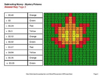 Fall: Subtracting Money - Color-By-Number Mystery Pictures