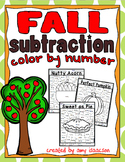 Fall Subtraction Color by Number