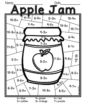 Fall Subtraction Color by Number by Amy Isaacson | TpT