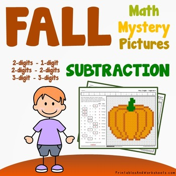 Fall Subtraction Worksheets, Autumn Math Coloring Sheets