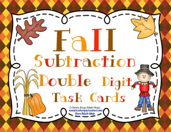 Fall Subtraction (Double Digit) Task Cards