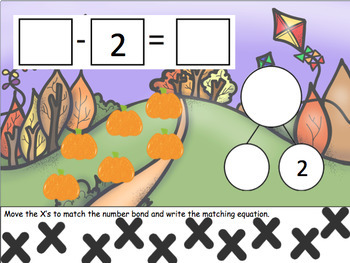 Fall Subtraction Number Bonds for Google Classroom