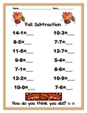Fall! Subtraction Practice Worksheet