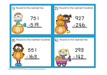 Fall Subtraction Regrouping Estimation (Rounding) Task Cards