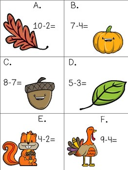 Fall Subtraction Scoot (Numbers to 10)