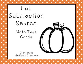 Fall Subtraction Search Task Cards