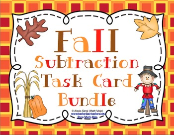 Fall Subtraction Task Card Bundle