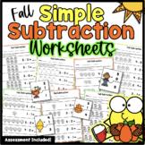 Fall Subtraction Worksheets Kindergarten Numbers 0-5