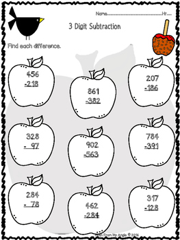 Fall Subtraction with Regrouping