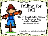 Fall Subtraction with Regrouping Math Center-- With and wi