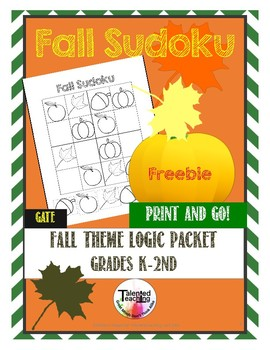 Early Finisher's Fall Critical Thinking Sudoku Puzzles Freebie