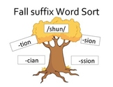 Fall Suffix Word Sort /shun/