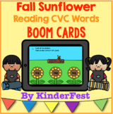 Fall Sunflower Reading CVC Words Boom Cards